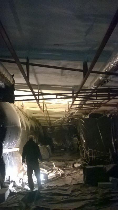 Izolacja stropów pianką natryskową dla zakładów mięsnych Duda Grąbkowo